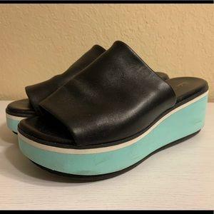 Robert Clergerie Leather/Foam Platform Slides 36.5